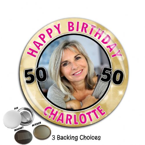 Large 75mm Personalised Gold Sparkle Happy Birthday PHOTO Badge N66